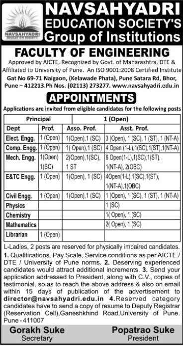 Asstt Professor for PCM (Navsahyadri Education Societys Group of Institutions Faculty of Engineering)
