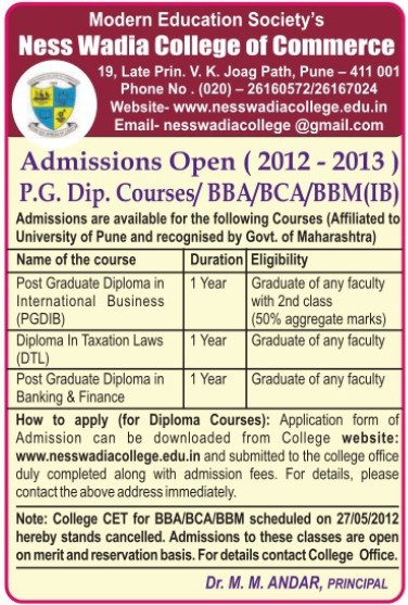 Post Graduate Diploma in International Business (Ness Wadia College of Commerce)