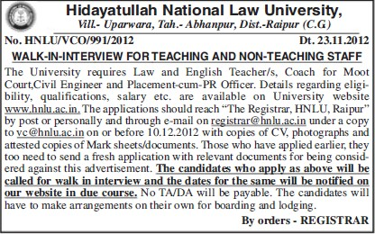 Teaching and non teaching posts (Hidayatullah National Law University (HNLU))