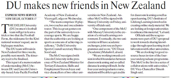 DU makes new friends in New Zealand (Delhi University)