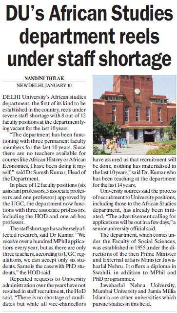 DUs African studies dept reels under staff shortage (Delhi University)