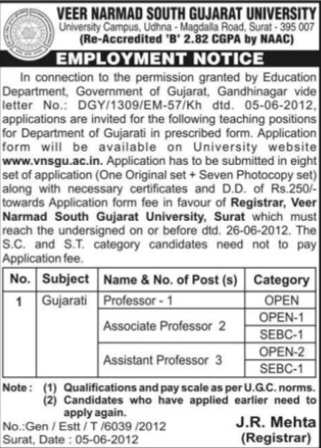 Asstt Professor for Gujarati (Veer Narmad South Gujarat University)