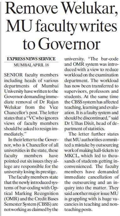 MU faculty writes to Governor (University of Mumbai (UoM))