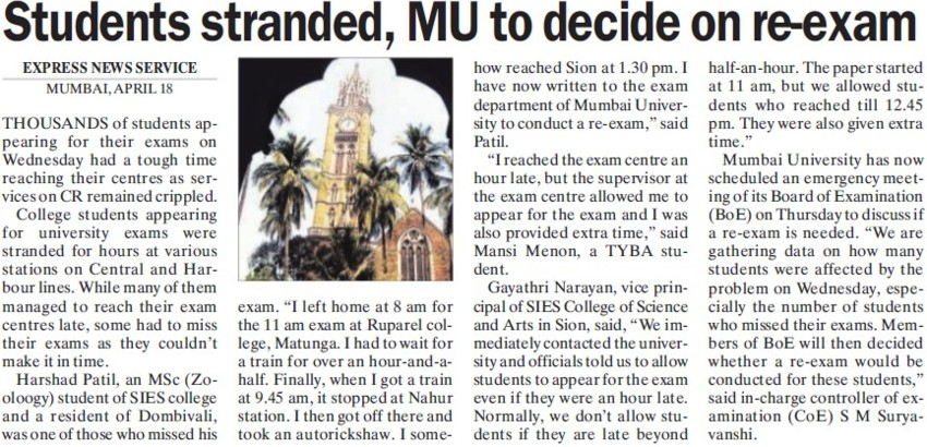 Students Standed, MU to decide on re exam (University of Mumbai)