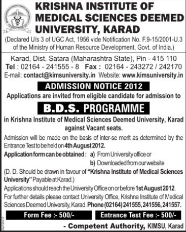 BDS Programme (Krishna Institute of Medical Sciences University KIMS)