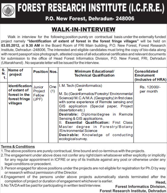 Junior Project Fellow (Forest Research Institute)