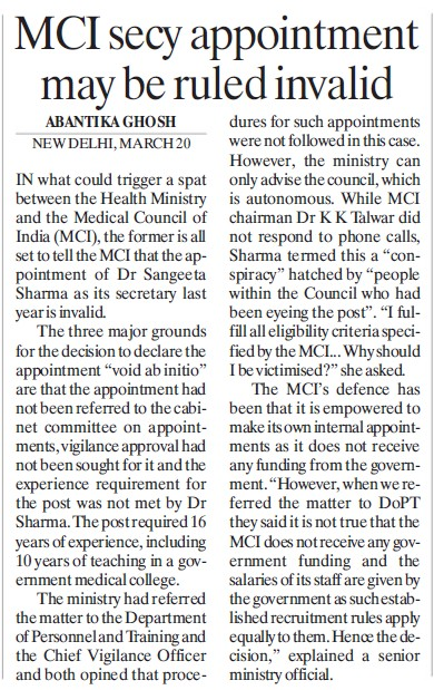 MCI secy appointment may be ruled invalid (Medical Council of India (MCI))