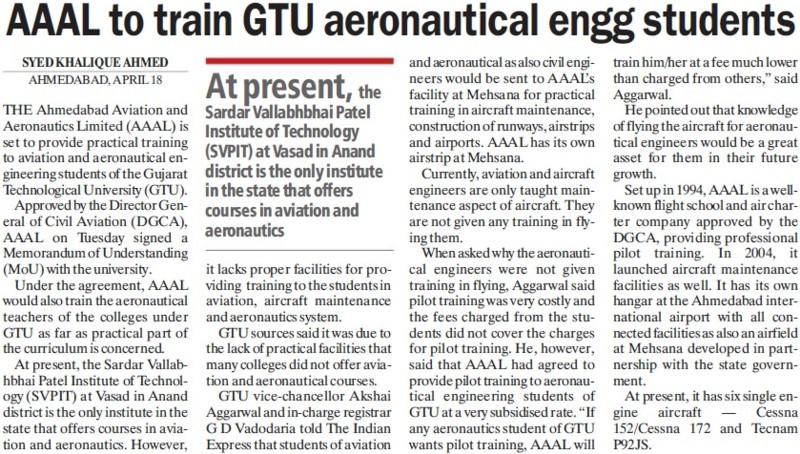 AAAL to train GTU aeronautical engg students (Gujarat Technological University)