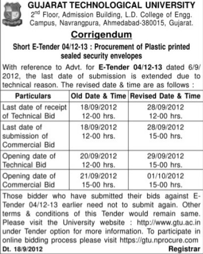 Submission of Tendre (Gujarat Technological University)