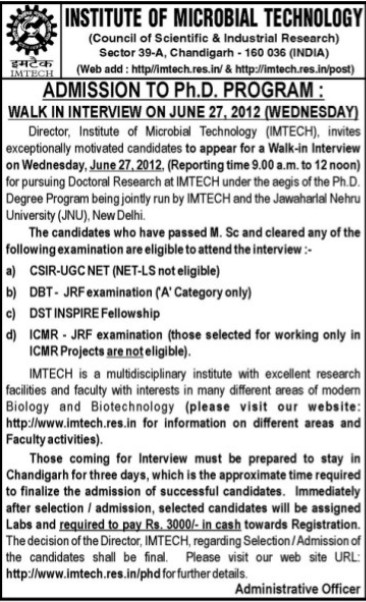 PhD Program (Institute of Microbial Technology (IMTECH))