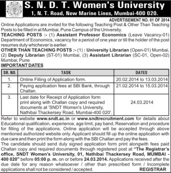 Asstt Professor in Economics and Dy Librarian (SNDT Women University)