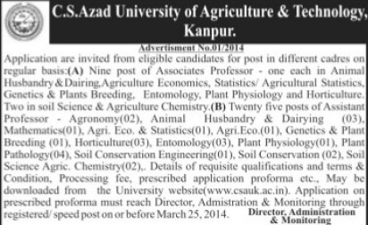 Associate Professor in Genetics (Chandra Shekhar Azad University of Agriculture and Technology (CSAUK))