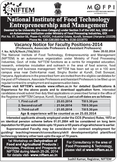 Associate Professor on regular basis (National Institute of Food Technology Entrepreneurship and Management (NIFTEM))