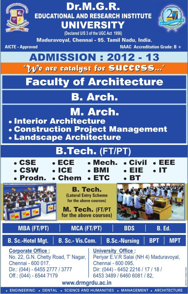 B Arch and M Arch Courses (Dr MGR Educational and Research Institute University)