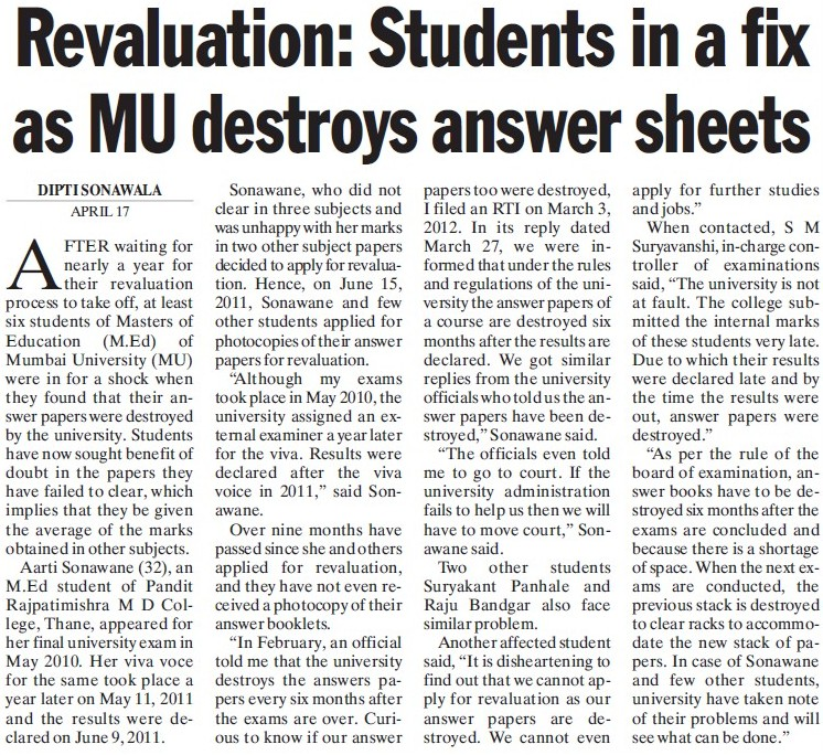 Students in fix as MU destroys answer sheets (University of Mumbai)