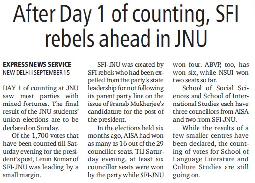 SFI rebels ahead in JNU (Jawaharlal Nehru University)