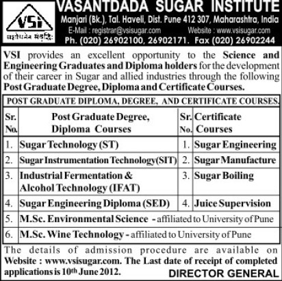 Certificate Course in Sugar Technology (Vasantdada Sugar Institute (VSI))