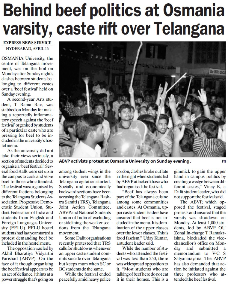 Behind beef politics at OU, caste rift over Telangana (Osmania University)
