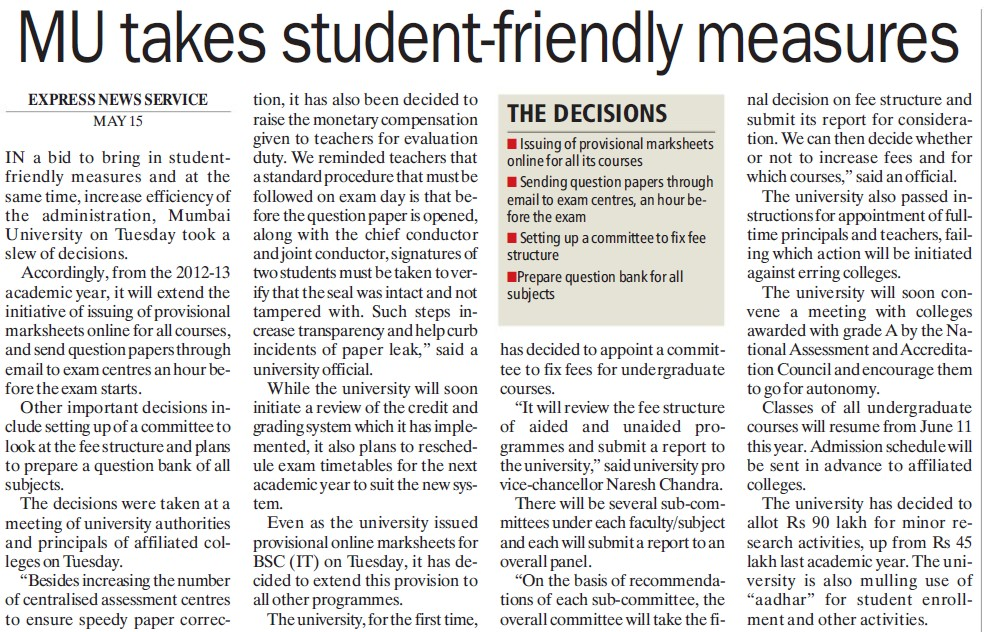 MU takes student friendly measures (University of Mumbai (UoM))