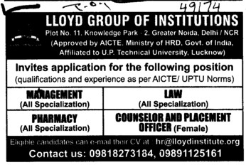 Counselor and Placement Officer (Lloyd Group of Institutions)