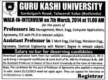 Asstt Professor for Petroleum Engineering (Guru Kashi University)