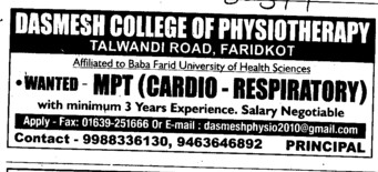 MPT in Cardio (Dashmesh College of Physiotherapy)