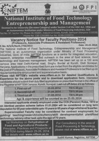 Asstt Professor in Management (National Institute of Food Technology Entrepreneurship and Management (NIFTEM))