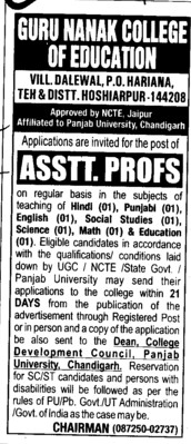 Asstt Professor for Maths (Guru Nanak College of Education)