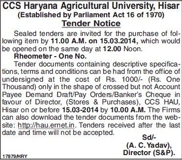 Purchase of Rheometer (Ch Charan Singh Haryana Agricultural University (CCSHAU))