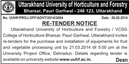 Purchase of fruit and vegetables equipments (Uttarakhand University of Horticulture and Forestry UUHF)