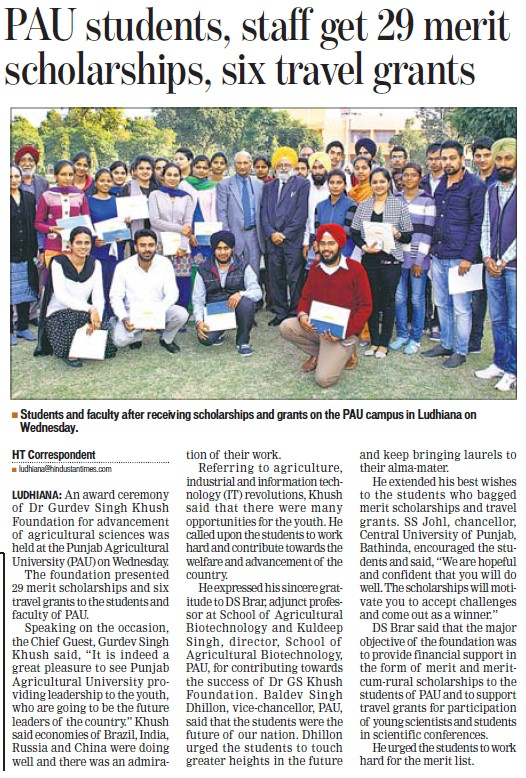 PAU students, staff get 29 merit scholarship, six travel grants (Punjab Agricultural University PAU)
