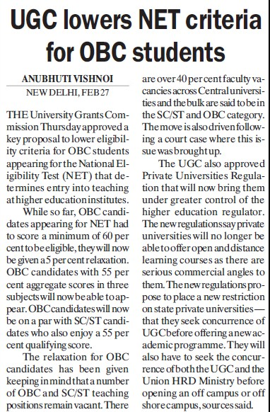 UGC lowers BET criteria for OBC students (University Grants Commission (UGC))