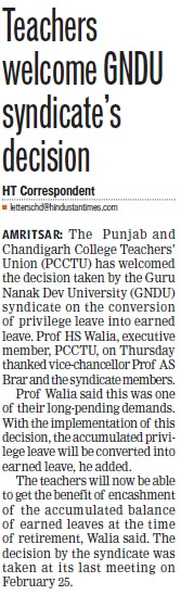 Teachers welcome GNDU syndicates decision (Guru Nanak Dev University (GNDU))