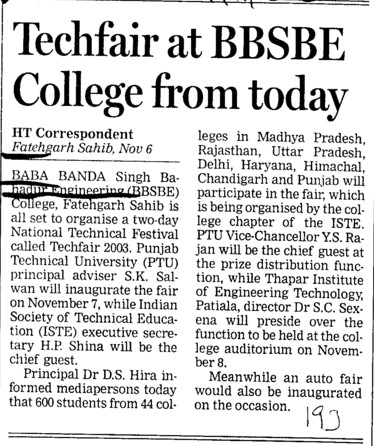 Techfair at BBSBE College from today (Baba Banda Singh Bahadur Engineering College (BBSBEC))