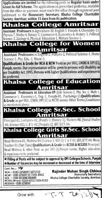 Asstt Professor in Education (Khalsa College for Women)
