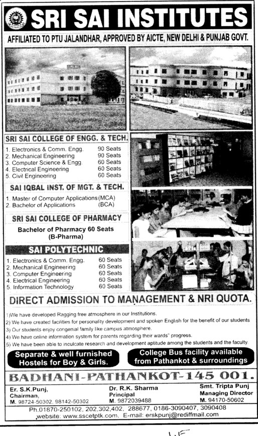 Bachelor of Pharmacy (Sri Sai Group of Instituties (SSGI))