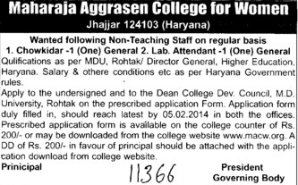 Lab Attendant (Maharaja Aggrasen College for Women)
