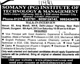 Vice Principal; (Somany Institute of Technology and Management (SITM))