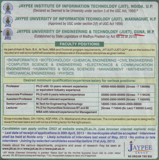Senior Lecturer and Asstt Professor (Jaypee University of Engineering and Technology (JUET))