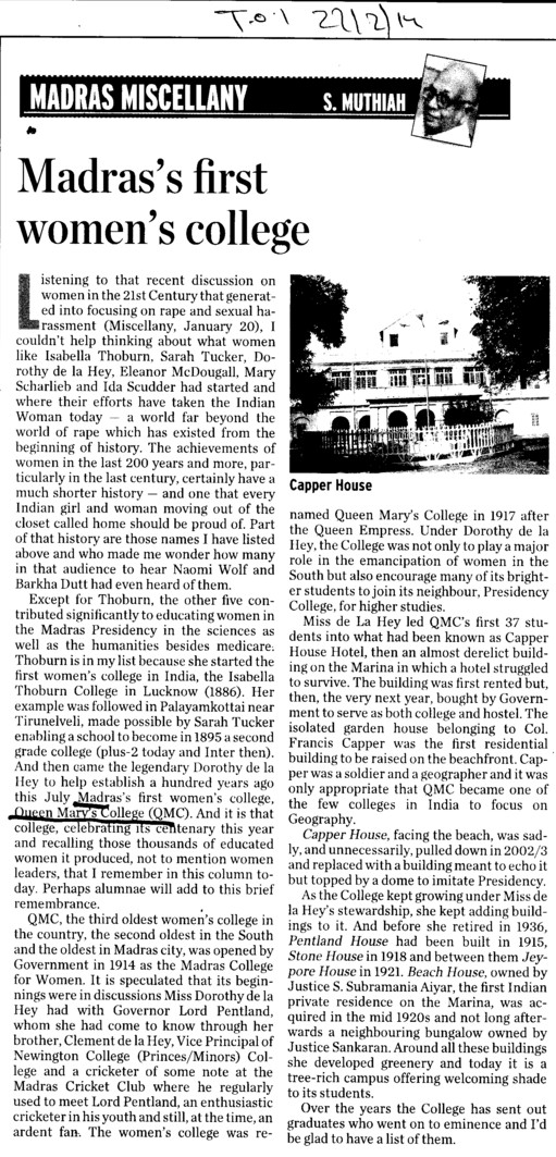 Profile of Madras First Women College (Queen Marys College)