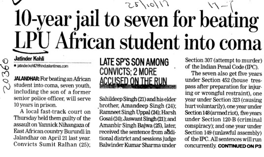 10 yrs jail to seven for beating LPU African student  (Lovely Professional University LPU)