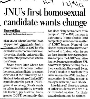 JNUs first homosexual candidate wants change (Jawaharlal Nehru University)