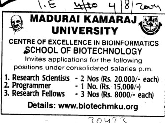 Research Scientist and Programmer (Madurai Kamaraj University)
