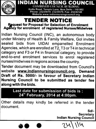 Selection of enrolment agency (Indian Nursing Council (INC))