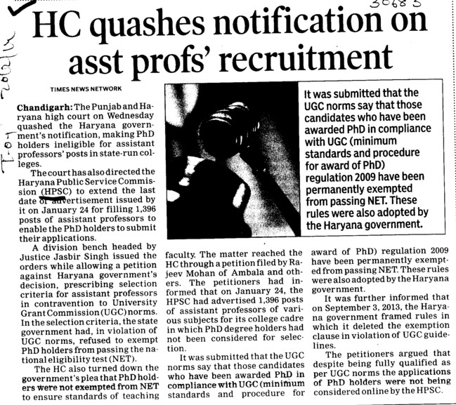 HC quashes notification on asstt profs recruitment (Haryana Public Service Commission (HPSC))