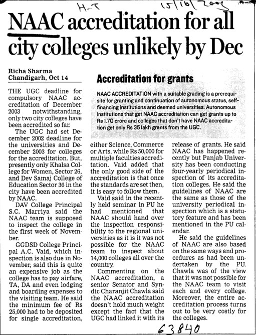 NAAC accreditation for all city colleges unlikely by Dec (National Assessment and Accreditation Council (NAAC))