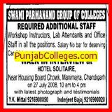 WORKSHOP INSTRUCTORS, LAB ATTENDANTS (Swami Parmanand College of Engineering and Technology (SPCET))