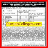 Asstt Professor in Management (Vidnyan Mahavidyalaya, Sangola,)