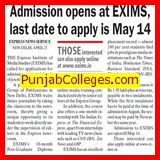 Admission open at EXIMS, last date May 14 (Express Institute of Media Studies)