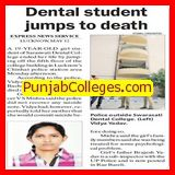 Dental student jumps to death (Saraswati Dental College and Hospital)